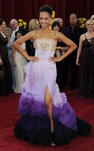 Avatar actress Zoe Saldana in Givenchy Haute Couture at Oscar Red Carpet