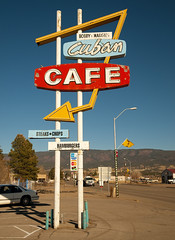 CUBAN CAFE (FotoEdge) Tags: food usa mountains newmexico southwest sign restaurant ancient neon north cuba rusty albuquerque roadtrip mexican bobby arrow margie chops 2009 steaks relic arrowsign cubancafe fotoedge