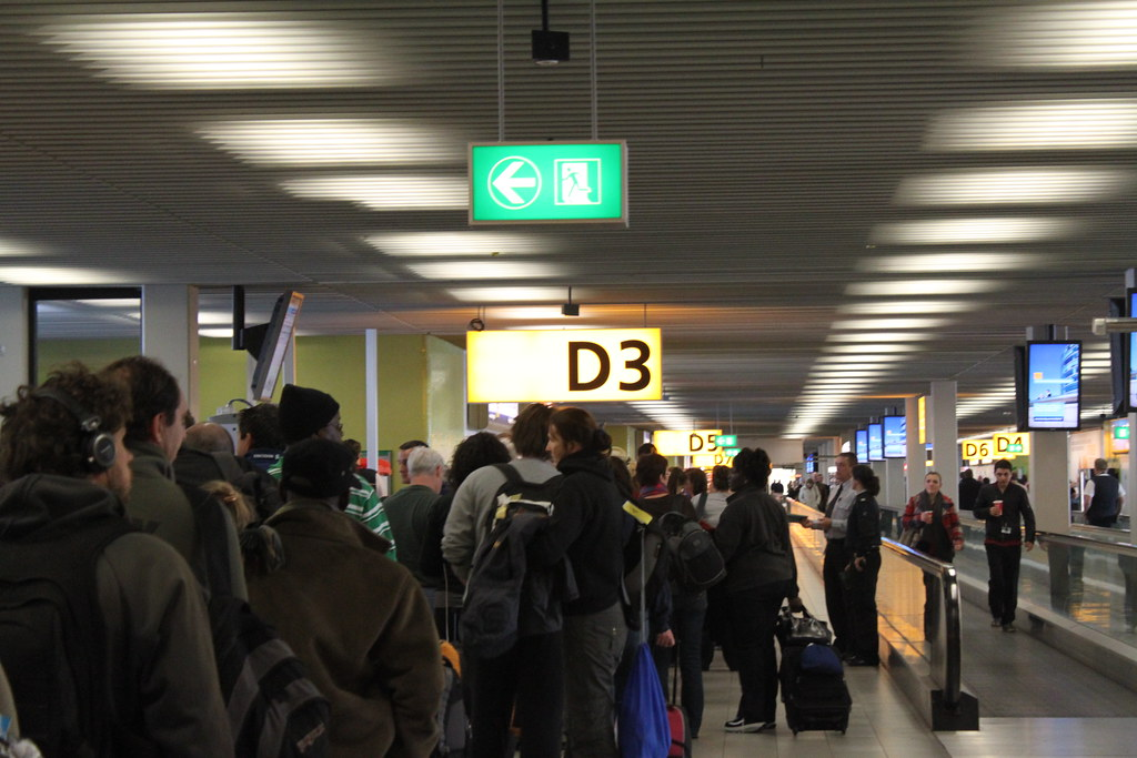 Standing in line at Amsterdam Schiphol Airport