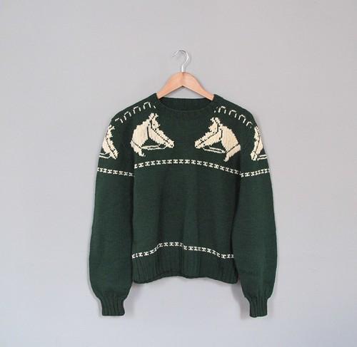 vtg horse sweater