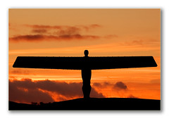 Angel of the North Sunset Sky (Chiggs.) Tags: uk sunset england sky sculpture orange colour beautiful silhouette angel clouds wings north dramatic front explore lovely capture todays fluidr charliedurn