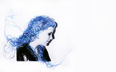 thready or not (nicole holcroft-emmess) Tags: blue shadow texture thread girl face silhouette hair mixed media embroidery profile blues cotton hues watercolour desaturated tangled