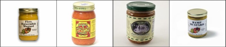 Shown here: Gourmet Central's Fiery Horseradish Mustard, Thistle Dew Farm Inc.s Hot Pepper Butter, Miss Mollys Appalachian Salsa, and Gourmet Central's Ramp Mustard  all make wonderful additions to your kitchen.
