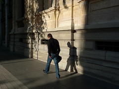 . (Marie Nolle Taine) Tags: street city light shadow people urban man france town europe lyon stalking