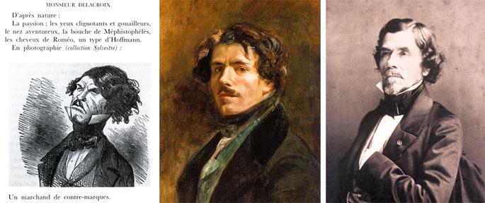 Marcelin. Delacroix, autoportrait, 1837. Portrait par Nadar, 1858.