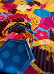 first hexagons (joontoons) Tags: handmade sewing quilting hexagons patchwork beehive florafauna michaelmiller paperpieced handsewing englishpaperpiecing whipstitch pattyyoung joontoons