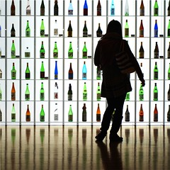 Woman in silhouette (tanakawho) Tags: blue people orange woman color reflection green girl silhouette vertical horizontal bottle cool shiny floor display line shelf sake squareformat 500x500 instantfavorite tanakawho winner500