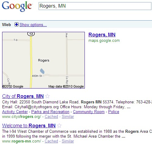 Google Search for Rogers, MN - 03/30/10