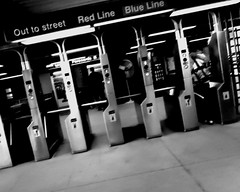 89/365 Out of It (J.Renee.Photo) Tags: bw chicago blur train gate ticket el dizzy tilt 3652010 365the2010edition 2010yip