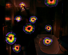 A swarm of light thingies :) (FDU4) Tags: longexposure blue light red orange lightpainting color green yellow dark painting circle bathroom spectrum cyan violet trails round nophotoshop trippy