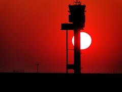 Sonnenbrand ~ Sunning fire (Froschknig Photos) Tags: sunset red sun black rot tower night landscape airport sonnenuntergang nacht leipzig le flughafen landschaft sonne rosso schwarz blut vulkan wow1 wow2 wow3 wow4 gesperrt froschknig michau sperrung