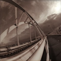 Walfridusbrug (Guido Musch) Tags: bridge netherlands train nederland railway rails hp5 brug groningen ilford trein spoor kiev88 hp5plus zodiak8 30mmf35 walfridusbrug guidomusch зодиак8 30mmf35fisheye