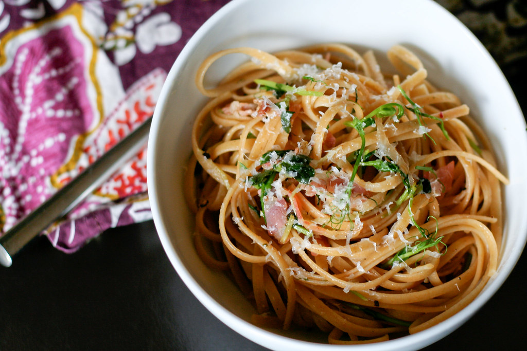 Spring Pancetta & Pea Shoot Pasta