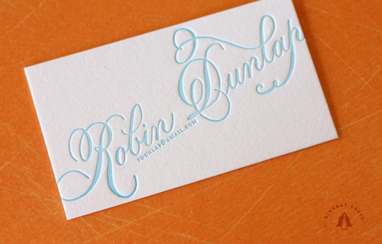 Robin Dunlap, Calligraphy Calling Card