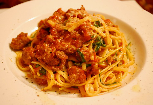 linguine with sausage and mizuna