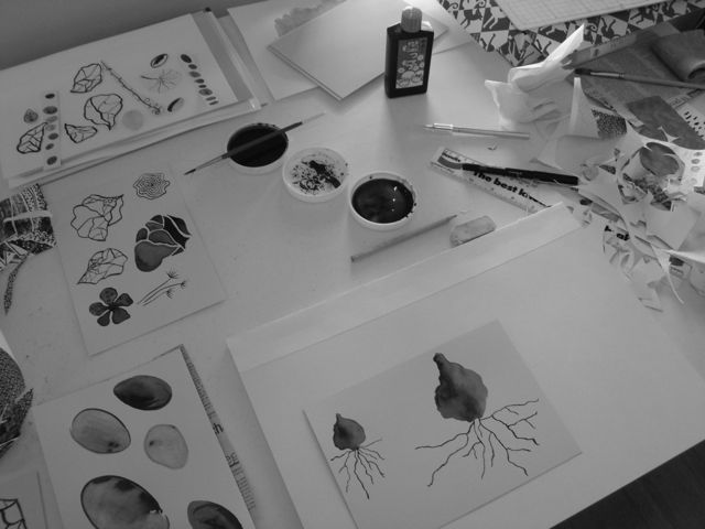 work space, sumi ink illustrations
