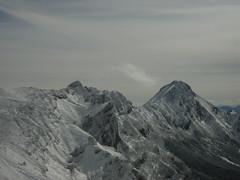 硫黄岳から見た、横岳と赤岳