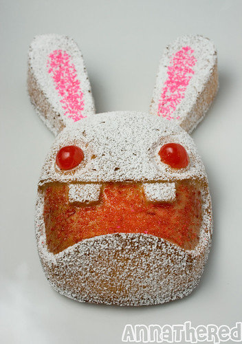 Non-Bento #24: Fun with a Rabbid mold #2 - Rabbid cake (powdered)