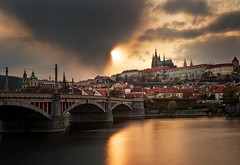 Hradany Sunset (Philipp Klinger Photography) Tags: bridge sunset sky cloud storm reflection tree castle church water saint clouds river gold golden republic czech prague cathedral dom kirche bank prag stormy praha praga hradschin most czechrepublic vltava vitus hradcany hradany ceskarepublika republika rudolfinum josefov moldau msto katedrla vta mesto ceska hlavn josefstadt chrm hlavni ceskrepublika veitsdom strank cesk manesuv vanagram
