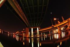 Norfolk / Portsmouth (by Travis Harris.) Tags: city bridge light sky reflection building art water river photography lights virginia nikon norfolk portsmouth poles lapp d3000 travisbharris