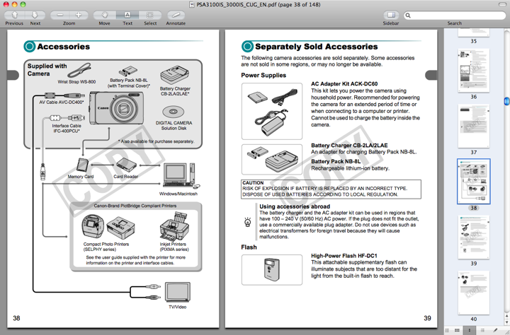 Accessories for the Canon A3100 IS, found on pages 38 through 40 of the Canon A3100 Manual
