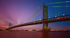 Dusk at The Ben Franklin Bridge (chris lazzery) Tags: longexposure bridge philadelphia twilight dusk pennsylvania 5d delawareriver canonef1740mmf4l benfranklingbridge bw30nd