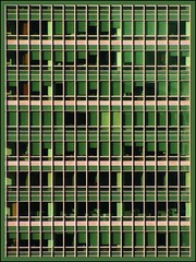 a downtown  wall (swampzoid) Tags: sanfrancisco tower geometric glass wall architecture skyscraper downtown squares structure financialdistrict offices greenglass lettheriverrun