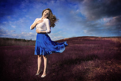 It was the ache that made her sing. (Leah Johnston) Tags: canada field novascotia singing wind leah fineart free voice blueberry sing blueskies johnston blueskirt blueberryfield leahjohnston
