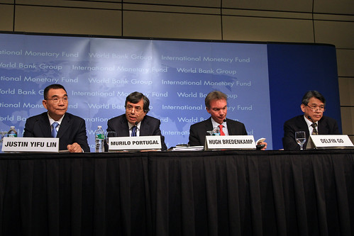 April 23, 2010 - Washington DC., World Bank/IMF Spring Meetings 2010. Global Monitoring Report: The MDGs after the Crisis. Justin Lin, WB Chief Economist and Snr. VP, Development Economics; Murilo Portugal, IMF Deputy Managing Director; Hugh Bredenkamp, IMF Deputy Director, Strategy Policy and Review Department; Delfin Go, WB Lead Economist and lead author, GMR