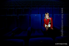 Scary Movie (Dave G Kelly) Tags: ireland dublin irish woman cinema female canon hand interior blond seats popcorn nervous movies canon5d scared youngadult laurel youngwoman anxious canoneos5d enterainment dublinphotographer cinemaseats canonef1740f40lusm copyright2010davegkelly