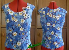 Just the lovely flowers (antonina.kuznetsova) Tags: blue motif lace top crochet multicoloured ukraine clothes cotton freeform crocheting camomile irishcrochet crochetlace lacefreeform motifcrochet antoninakuznetsova