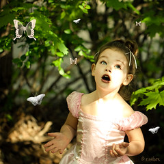 Backyard Princess II {butterfly edition} (Rebecca812) Tags: light portrait girl beautiful leaves butterfly children outside eyes hands backyard child dress princess branches daughter naturallight m psbrushes canon5dmarkii