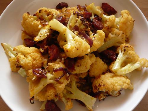 Roasted cauliflower with chorizo
