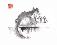 Cat Drinking Water (plasticpumpkin) Tags: blackandwhite pet art animal cat watercolor painting kitten katten feline kitty meow brushpainting ishflickr renadams inkchinesebrushpainting