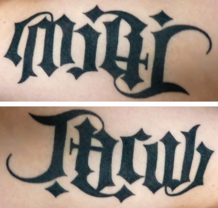"""Miri"" & Jacob"" Ambigram Tattoo"