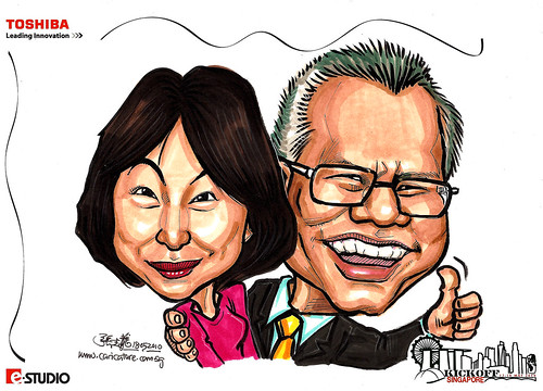 Caricature of Tan CT & Wife