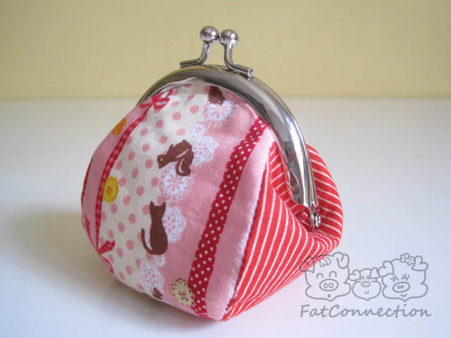 japanese fabric, metal clutch frame, pink, sweet