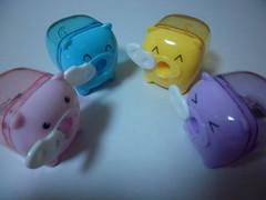 4 different piggy pencil sharpeners (KimJuHee) Tags: slim samsung dualdisplay ois 720p 12m h264 hdmi samsungdigitalcamera 199mm samsungcamera 5xzoom smartauto samsungimaging pl150 tl210 intellistudio20 30lcd