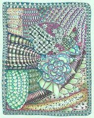 Hot Pink Fantasia Garden (molossus, who says Life Imitates Doodles) Tags: moleskine journal zentangle zendoodle zentangleinspiredart