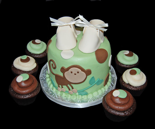 Sage green brown and cream monkey themed baby shower cupcake tower a