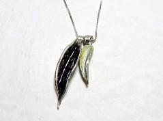 """Leaves"" Enameled Silver Necklace (EfratJewelry) Tags: silver handmade jewelry jewellery sterling 925 enamel silversmith metalsmith sterlingsilver כסף סטרלינג תכשיטים שרשרת תליון תליונים שרשראות צורפות עיצובתכשיטים אמייל efratjewelry אמיילחם"
