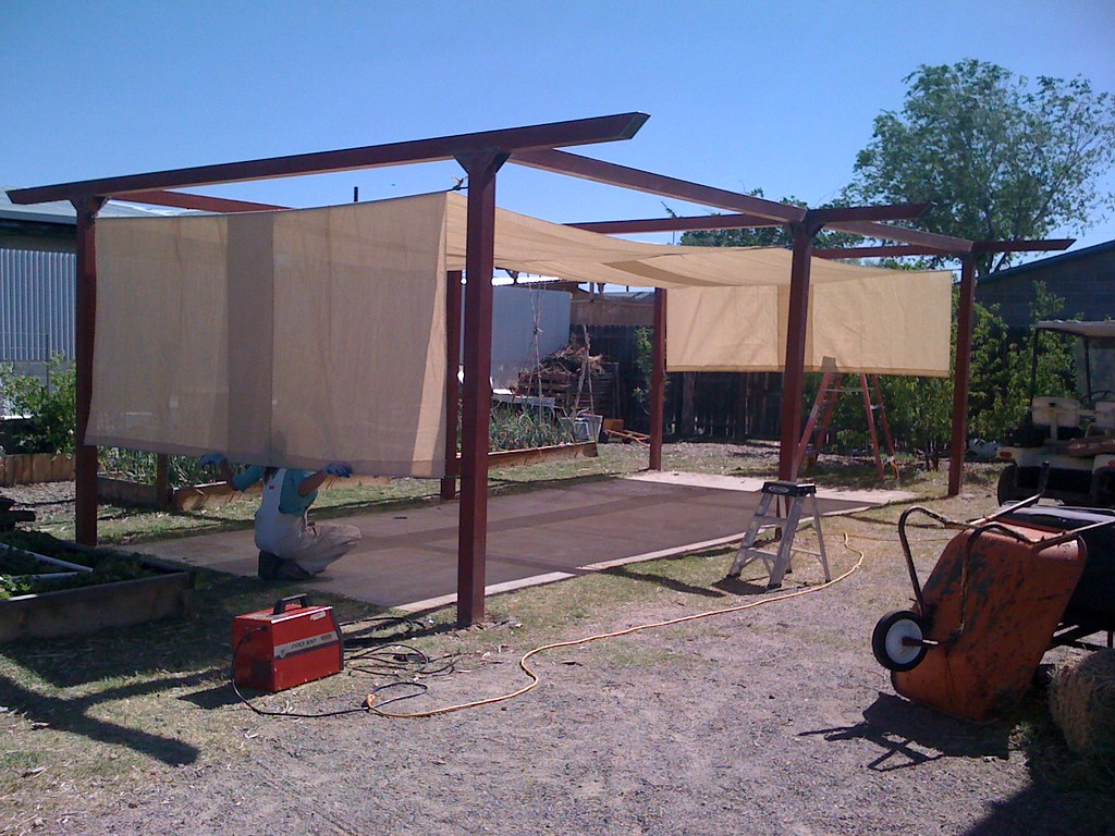Shade Structure - Hooked, Sanded, and Primed