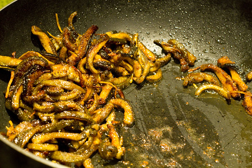 stir-frying eel strips 2