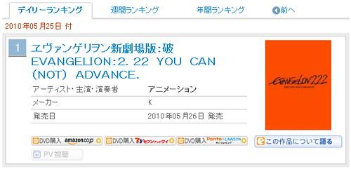 100526(3) - 《福音戰士新劇場版:破》同時奪下ORICON的Blu-ray Disc、DVD部門的首日銷售雙料冠軍
