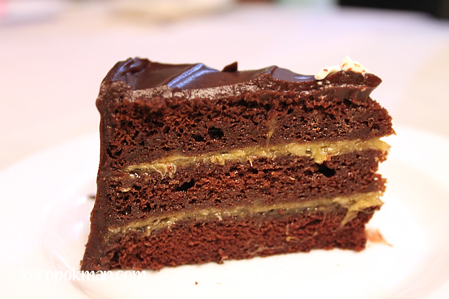 A slice of Awfully Chocolate Banana Cake
