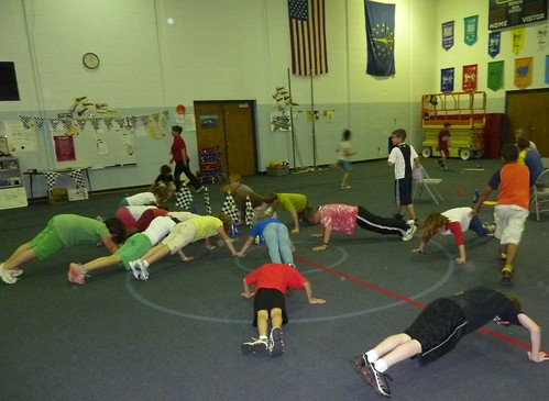 Third graders in Fishers Elementary gym class.