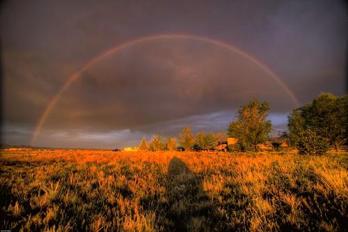 フリー写真素材, 自然・風景, 虹, 夕日・夕焼け・日没, アメリカ合衆国, ニューメキシコ州,