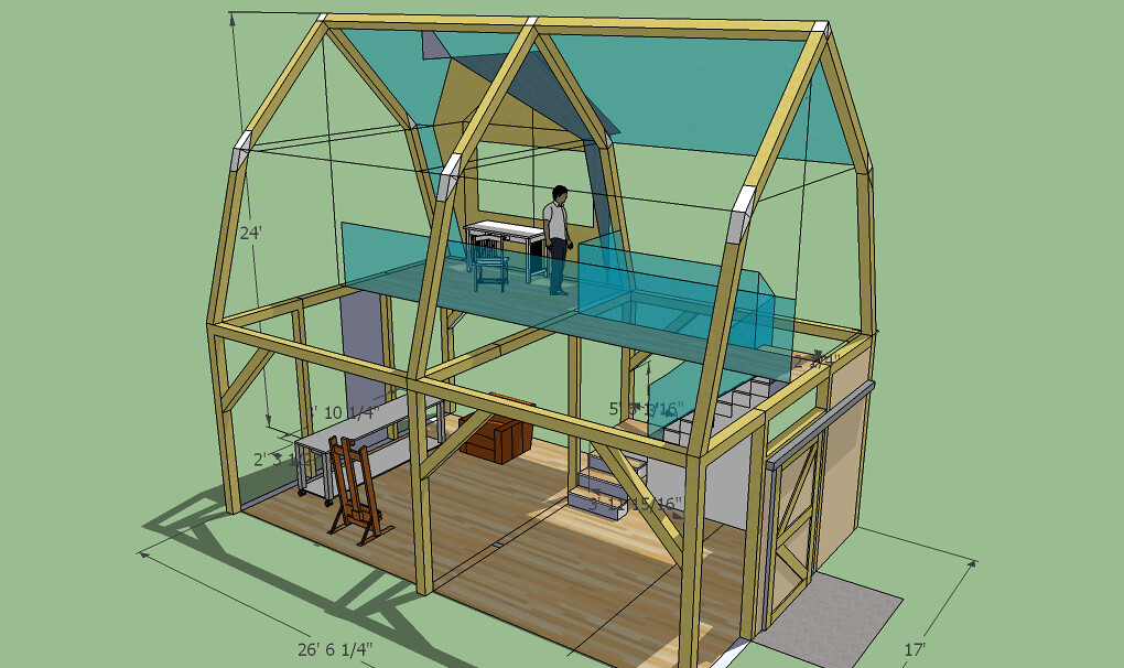 Timberframe studio 10 ceiling, gambrel roof