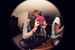 (WolfHaily) Tags: pink brown fish eye canon rebel shoes erin candid nintendo tights bracelets dsi xsi