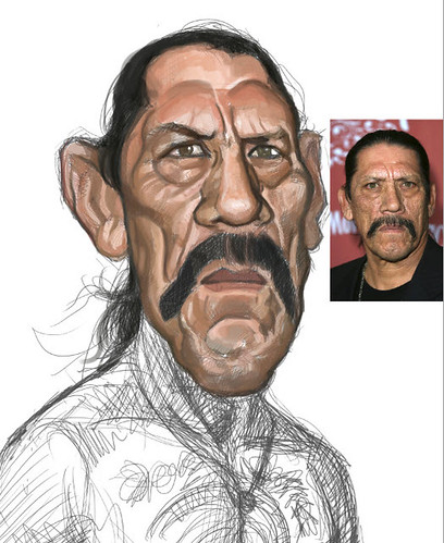 digital sketch of Danny Trejo - 4 small